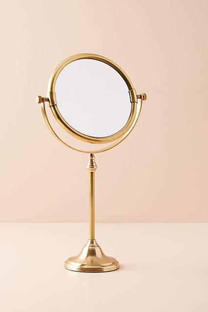 Anthropologie Golden Glass Bath Mirror