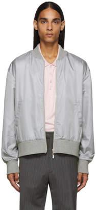 Thom Browne Grey Ripstop Center-Back Stripe Bomber Jacket