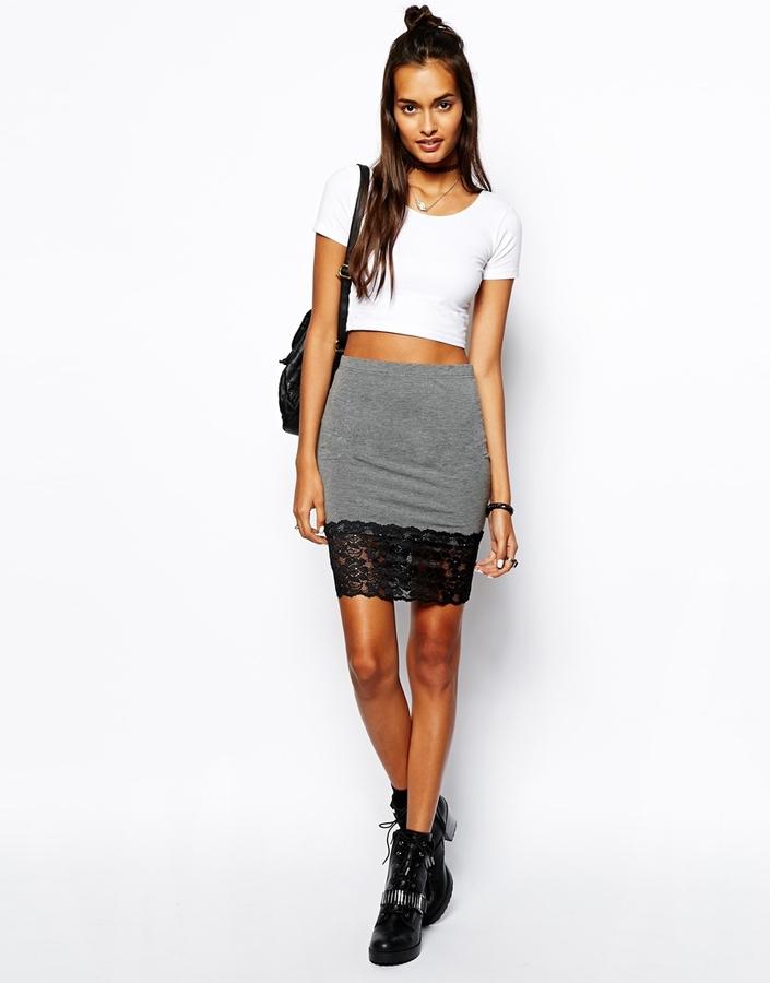 Asos Mini Skirt With Lace Hem - Grey