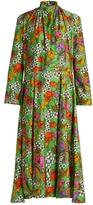 Balenciaga Floral-print gathered-neck jersey dress