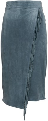 Veronica Beard Sanoe Fringed Suede Midi Skirt