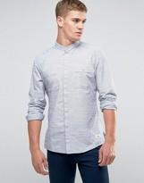 Esprit Grandad Collar Slub Shirt In Regular Fit
