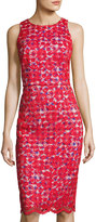 Maggy London Lace-Overlay Gingham Sheath Dress, Red Pattern