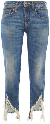 R 13 Emerson Distressed High-rise Straight-leg Jeans