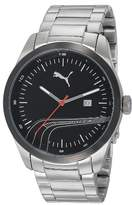 Puma Motorsport Stripe Unisex Quartz Watch with Black Dial Analogue Display and Silver Stainless Steel Bracelet PU102531004