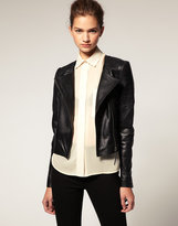 ASOS Leather Biker Jacket With  Collarless Stitch Detail