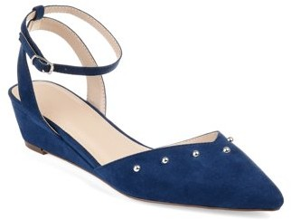 Brinley Co. Womens Faux Suede Ankle-strap Pointed Toe Bead Accent Sliver Wedges