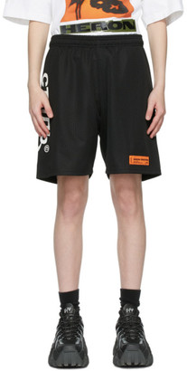 Heron Preston Black and White Logo Basket Shorts