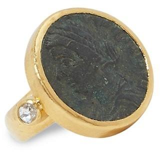 Gurhan Antiquities 24K Yellow Gold, Roman Coin & Diamond Ring