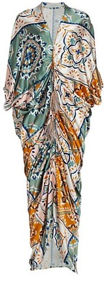 Silvia Tcherassi Cloister Stretch-Silk Paisley Caftan Dress