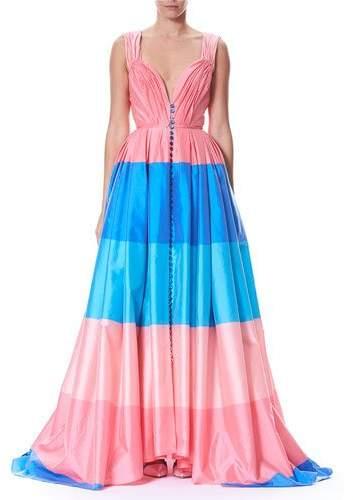 Carolina Herrera Wide-Stripe Sweetheart Cap-Sleeve Taffeta Evening Gown