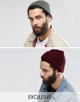 Reclaimed Vintage Inspired Mini Fisherman Beanie 2 Pack Gray/Burgundy