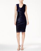 Connected Metallic Cowl-Neck Sheath Dress