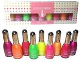 La Femme Nail Polish Varnish Set In A Gift Box - 9 x 15ml - Perfect For Christmas (Neon Set) by