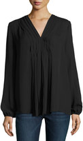 Max Studio Pleat-Front Long-Sleeve Blouse, Black