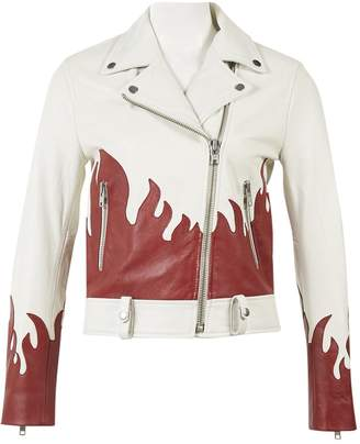 LPA White Leather Jacket for Women