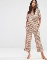 Asos Satin Tile Print Woven Tee & Cullotte Pajama Set
