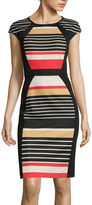Ronni Nicole RN Studio by Cap-Sleeve Striped Sheath Dress