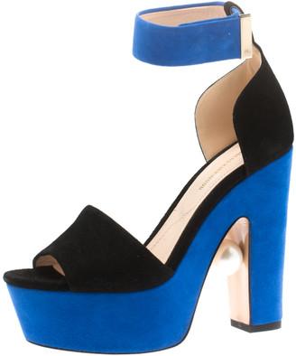 Nicholas Kirkwood Black/Blue Suede Maya Pearl Platform Ankle Strap Sandals Size 35