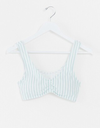 Hollister rouched front bikini top in stripe