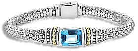 Lagos 18K Gold and Sterling Silver Caviar Color Bracelet with Swiss Blue Topaz