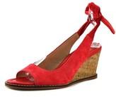 Bettye Muller Playlist Women Open Toe Suede Red Wedge Sandal.