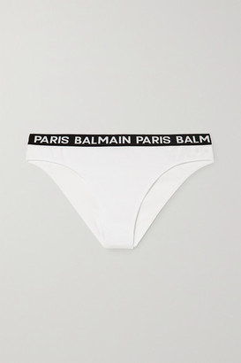 Balmain Jacquard-trimmed Cotton-blend Jersey Briefs - White