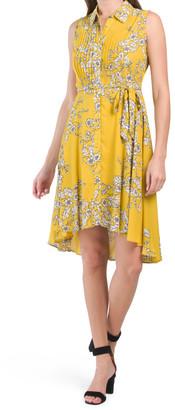 Sleeveless Pintuck Shirt Dress With Tie Waist
