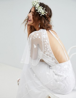 Asos EDITION Embroidered Flutter Sleeve Maxi Wedding Dress