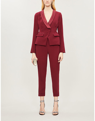 Lavish Alice Cutout-back shawl-lapel stretch-crepe jumpsuit