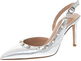 Valentino Metallic Silver Leather Rockstud D'orsay Slingback Pointed Toe Sandals Size 36.5