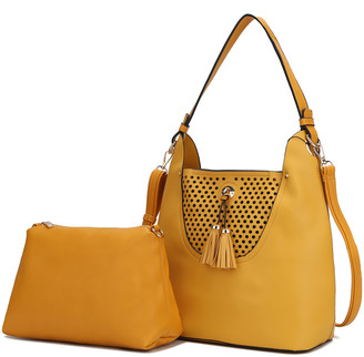 MKF Collection by Mia K. Women's Hobos - Yellow Perforated Tassel Convertible Hobo