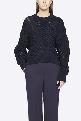 3.1 Phillip Lim Cable Knit Crewneck Sweater