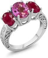 Gem Stone King 3.84 Ct Oval Pink Mystic Topaz Red Ruby 925 Sterling Silver Ring