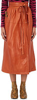 Marc Jacobs Women's Leather Wrap Midi-Skirt-TAN