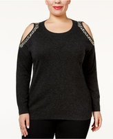 INC International Concepts Plus Size Embellished Cold-Shoulder Sweater, Only at Macy's