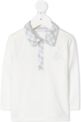 Patachou Check-Trim Long-Sleeved Polo Shirt