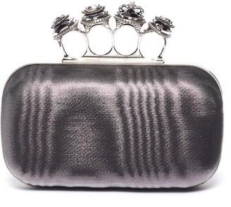 Alexander McQueen Jewelled moire satin knuckle clutch