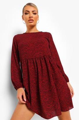 boohoo Dalmation Print Long Sleeve Smock Dress