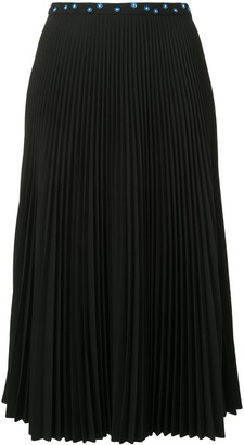 Markus Lupfer Pleated Flower Embellished Skirt