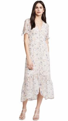 ASTR the Label Women's Short Sleeve V Neck Chandler Button UP HI Low MIDI Dress