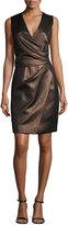 J. Mendel Sleeveless Metallic Faux-Wrap Dress, Bronze