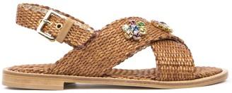 Emanuela Caruso Sandals In Natural Rafia With Crystals
