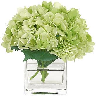 """7"""" Hydrangea in Cube Vase - Faux - NDI - arrangement, green; vessel, clear"""