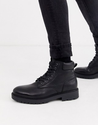 Jack and Jones leather chunky sole lace up boots in black
