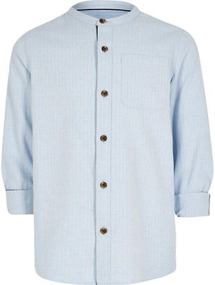 River Island Boys blue herringbone grandad shirt