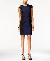 Betsey Johnson Contrast Lace-Appliqué Sheath Dress