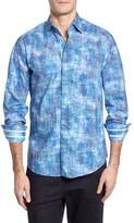 Stone Rose Men's Trim Fit Crinkle Effect Sport Shirt