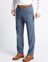 Marks and Spencer Tailored Fit Textured Flat Front Trousers