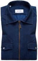 Eton Slim Fit Chambray Zip Sport Shirt Jacket